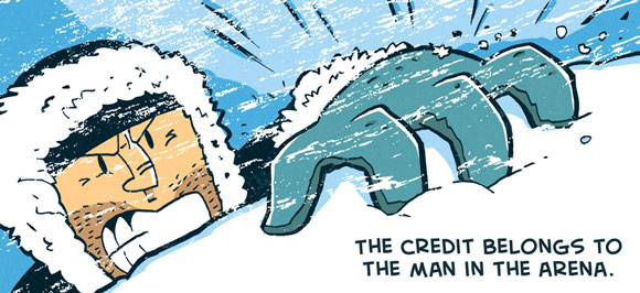 image relating to The Man in the Arena Printable called ZEN PENCILS » 8. THEODORE ROOSEVELT: The Male inside the Arena