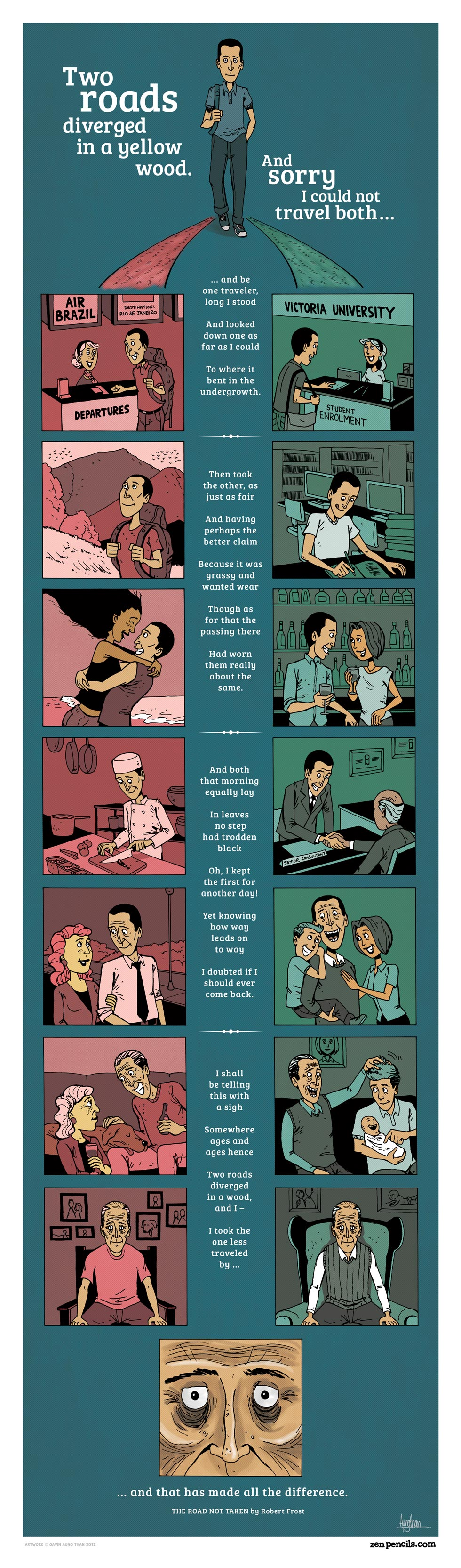 Two roads poem by Robert Frost, and made into a comic by ZenPencils.com